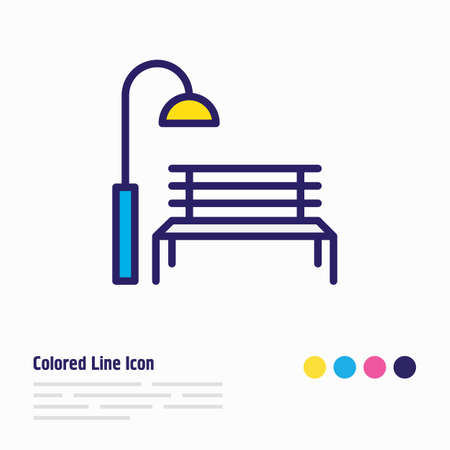 Vector illustration of park icon colored line. Beautiful urban element also can be used as bench with streetlight icon element. Illustration
