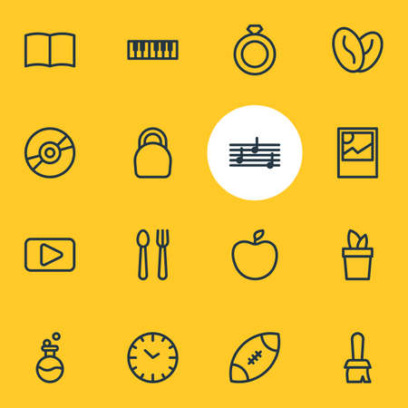 Vector illustration of 16 hobby icons line style. Editable set of melody, book, rugby and other icon elements. Ilustracja