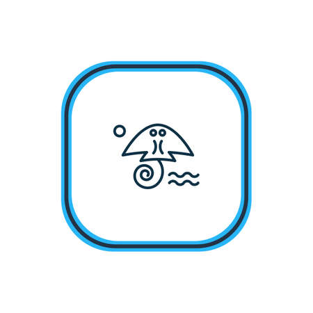 Vector illustration of cramp fish icon line. Beautiful nautical element also can be used as stingray icon element.