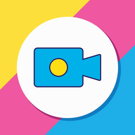 Vector illustration of video camera icon colored line. Beautiful computer element also can be used as camcorder icon element.  イラスト・ベクター素材