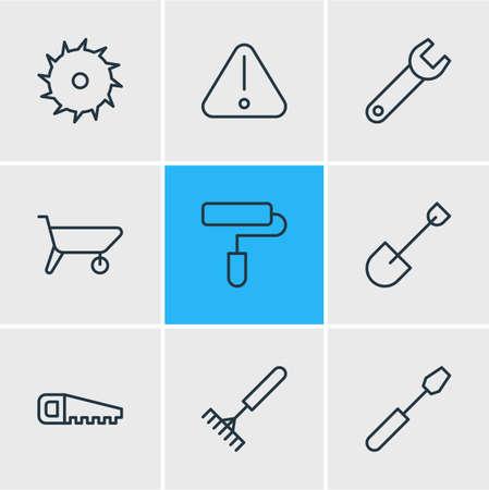 Vector illustration of 9 industry icons line style. Editable set of handsaw, warning, shovel icon elements.