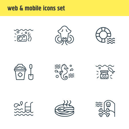 Vector illustration of 9 naval icons line style. Editable set of pirate flag, sand bucket, lifebuoy icon elements.