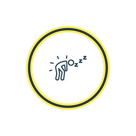 Vector illustration of exhausted icon line. Beautiful emoticon element also can be used as fatigue icon element.