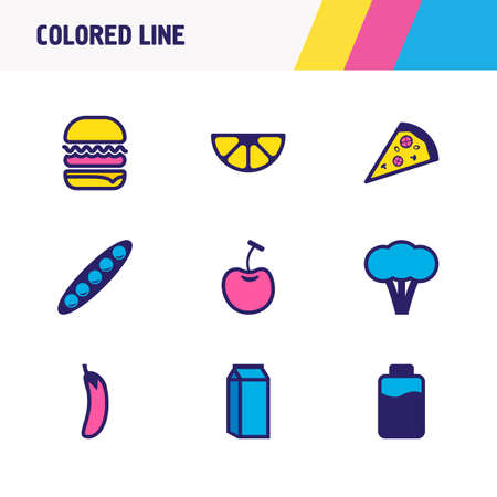 illustration of 9 food icons colored line. Editable set of eggplant, cherry, milk and other icon elements.
