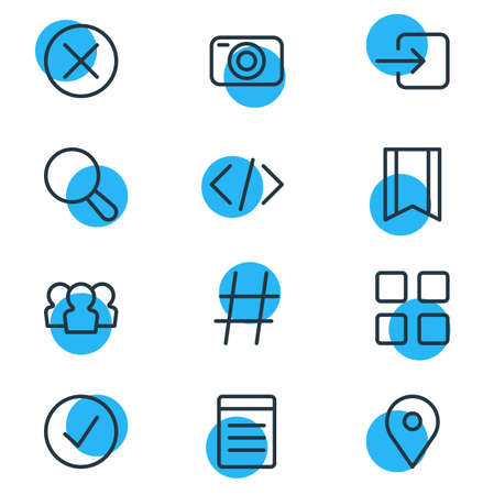 illustration of 12 application icons line style. Editable set of location, code, list and other icon elements.