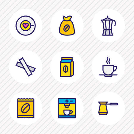 illustration of 9 java icons colored line. Editable set of cezve, coffee pack, coffee sack and other icon elements.