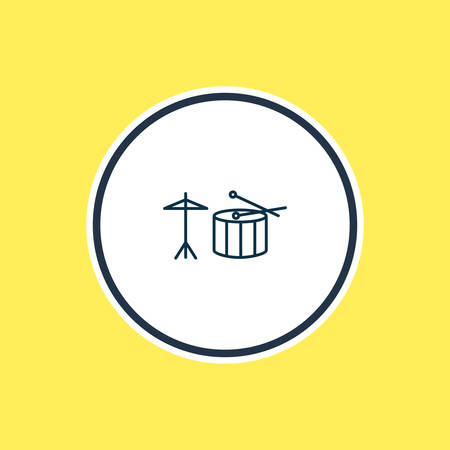 Vector illustration of drums icon line. Beautiful lifestyle element also can be used as percussion icon element. Illustration