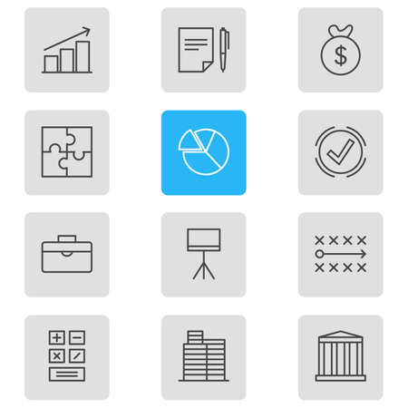Vector illustration of 12 management icons line style. Editable set of chart, puzzle, presentation and other icon elements.
