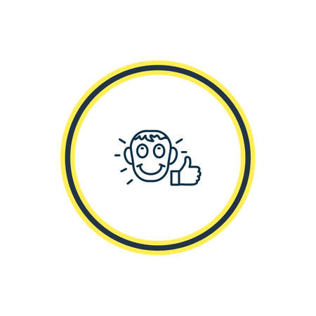 Vector illustration of satisfied icon line. Beautiful emoticon element also can be used as approval icon element.