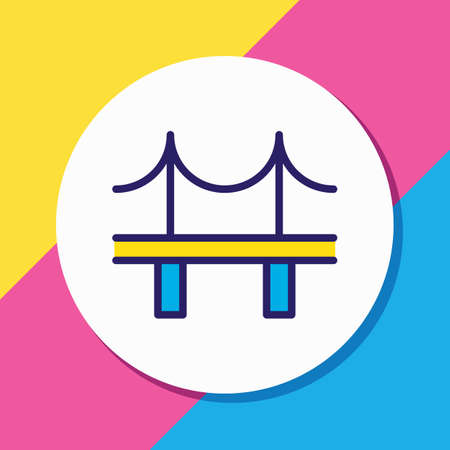Vector illustration of bridge icon colored line. Beautiful infrastructure element also can be used as golden gate icon element.