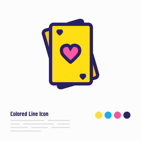 Vector illustration of playing cards icon colored line. Beautiful party element also can be used as poker icon element.