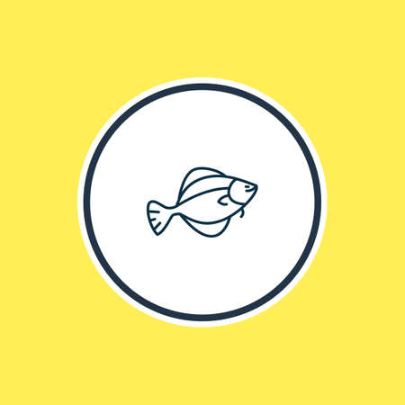 Vector illustration of flounder fish icon line. Beautiful sea element also can be used as flatfish icon element.