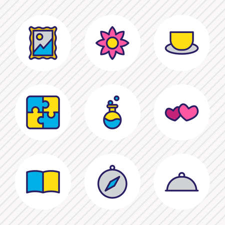Vector illustration of 9 hobby icons colored line. Editable set of picture, flower, tea and other icon elements.