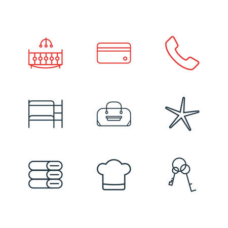 illustration of 9 vacation icons line style. Editable set of chef hat, keys, double decker bed and other icon elements. Stockfoto