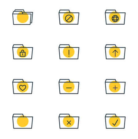 Vector illustration of 12 document icons line style. Editable set of locked, shared, upload and other icon elements. Çizim