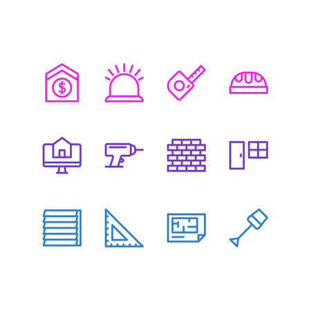 Vector illustration of 12 architecture icons line style. Editable set of tape, door with window, brick and other icon elements.