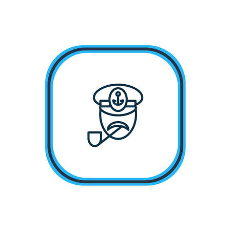 Vector illustration of captain icon line. Beautiful marine element also can be used as sailor icon element.