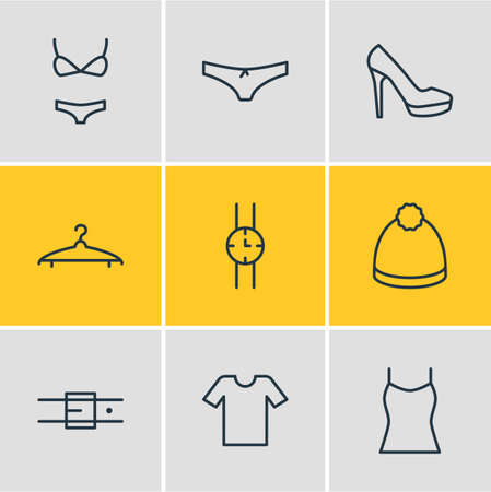 Vector illustration of 9 dress icons line style. Editable set of heeled shoe, underwear, tank top and other icon elements.