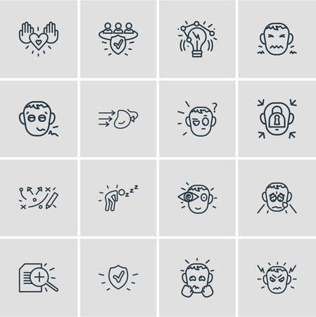 Vector illustration of 16 emoji icons line style. Editable set of grieving, disgust, innovation and other icon elements. Illustration