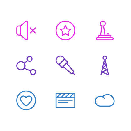 illustration of 9 music icons line style. Editable set of joystick, mute, mike and other icon elements.