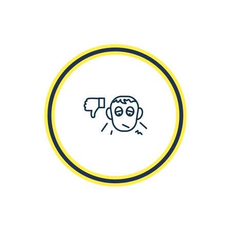 Illustrazione vettoriale di linea icona pessimista. L'elemento delle belle emozioni può anche essere usato come elemento dell'icona di antipatia.