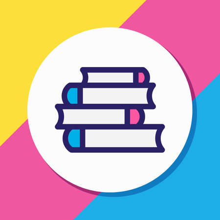 Vector illustration of lecture icon colored line. Beautiful book element also can be used as bookshelf icon element.