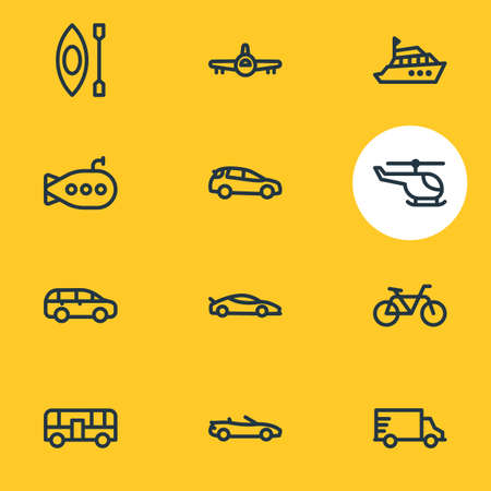 Vector illustration of 12 vehicle icons line style. Editable set of truck, helicopter, medium suv and other icon elements. Stock Illustratie