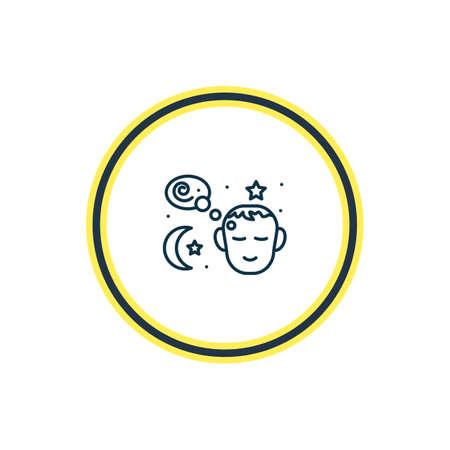 Ilustración de vector de línea de icono de sueños. El hermoso elemento emoji también se puede usar como elemento de icono de sueño.