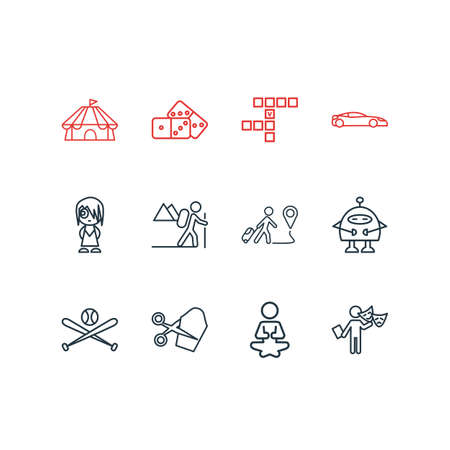Vector illustration of 12 entertainment icons line style. Editable set of baseball, hiking, crossword and other icon elements. Banque d'images - 125226881