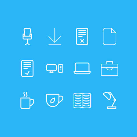 illustration of 12 workplace icons line style. Editable set of confirm, tea, laptop and other icon elements.