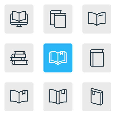 illustration of 9 book icons line style. Editable set of ebook, handbook, textbook icon elements.