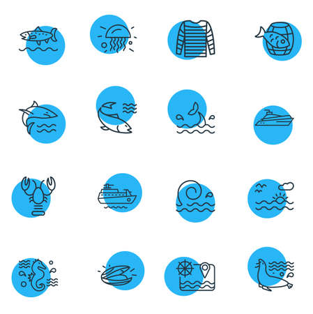 Vector illustration of 16 sea icons line style. Editable set of stripped vest, whale tail, jelly fish and other icon elements. Ilustração