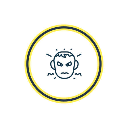 Vector illustration of annoyed icon line. Beautiful emoji element also can be used as anger icon element.