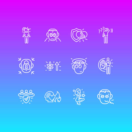 Vector illustration of 12 emoticon icons line style. Editable set of trust, undecided, grieving and other icon elements. Illustration