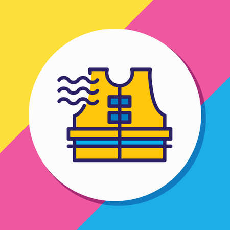 Vector illustration of life vest icon colored line. Beautiful maritime element also can be used as lifesaver icon element.