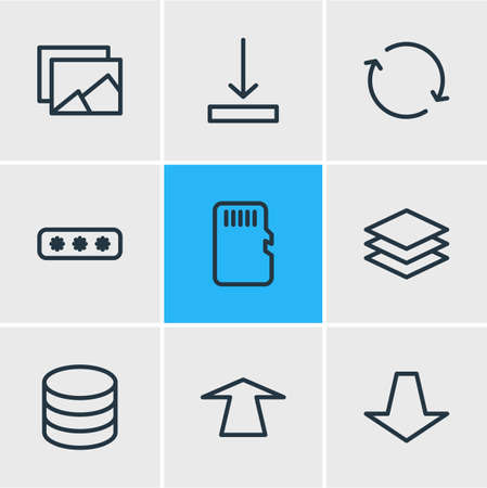 Vector illustration of 9 memory icons line style. Editable set of category, push, password and other icon elements.