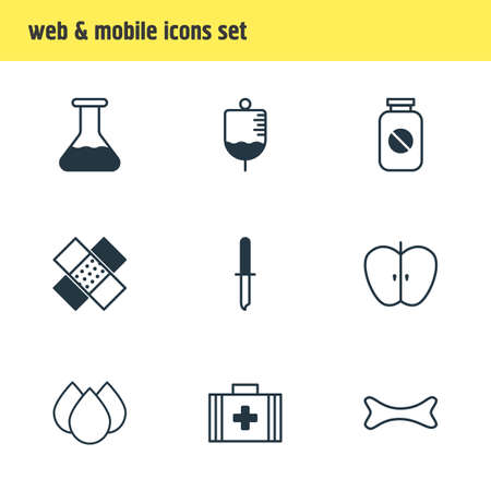 Vector illustration of 9 health icons line style. Editable set of serum, pill bottle, first aid box and other icon elements.
