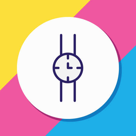 Vector illustration of watch icon colored line. Beautiful dress element also can be used as wristwatch icon element.