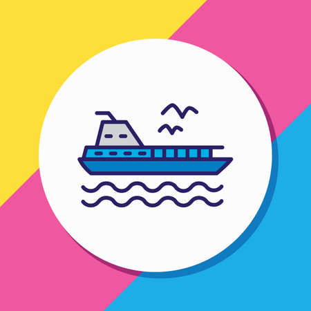 illustration of ferry icon colored line. Beautiful nautical element also can be used as cruise icon element.