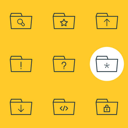 illustration of 9 folder icons line style. Editable set of significant, upload, missed and other icon elements.