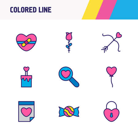 Vector illustration of 9 amour icons colored line. Editable set of candy, date, cake icon elements.
