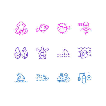 Vector illustration of 12 marine icons line style. Editable set of sailor man, fin, oyster and other icon elements.