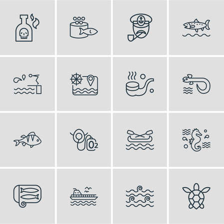 Vector illustration of 16 marine icons line style. Editable set of diving board, canoe, caviar and other icon elements.