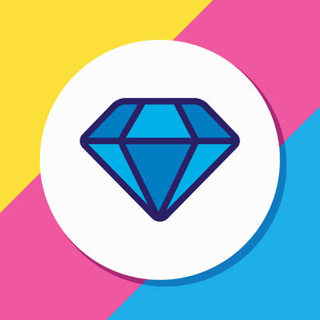 Vector illustration of diamond icon colored line. Beautiful celebration element also can be used as brilliant icon element.