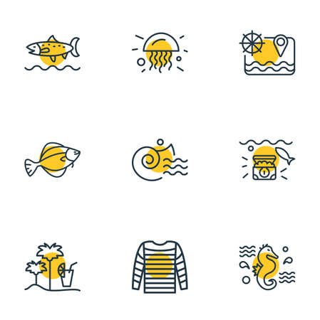 Vector illustration of 9 sea icons line style. Editable set of wealth, jelly fish, sea map and other icon elements. Ilustração