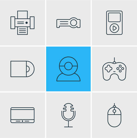 Vector illustration of 9 device icons line style. Editable set of mp3 player, microphone, printer and other icon elements. Illustration