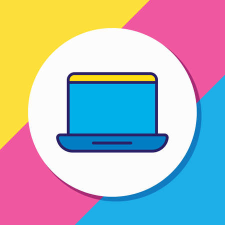 Vector illustration of laptop icon colored line. Beautiful hardware element also can be used as portable computer icon element.