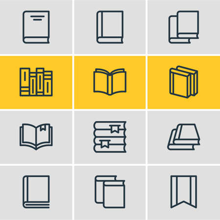 illustration of 12 book reading icons line style. Editable set of encyclopedia, education, read and other icon elements.