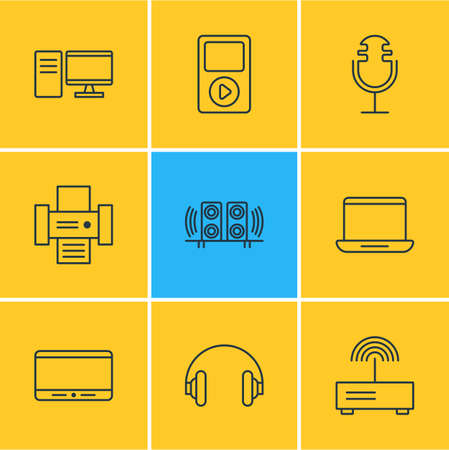 Vector illustration of 9 technology icons line style. Editable set of microphone, desktop computer, mp3 player and other icon elements. Illustration