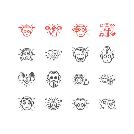 Vector illustration of 16 emoticon icons line style. Editable set of love, cognitive process, guilty and other icon elements. Stock Illustratie